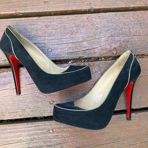 Christian Louboutin black suede stilettos